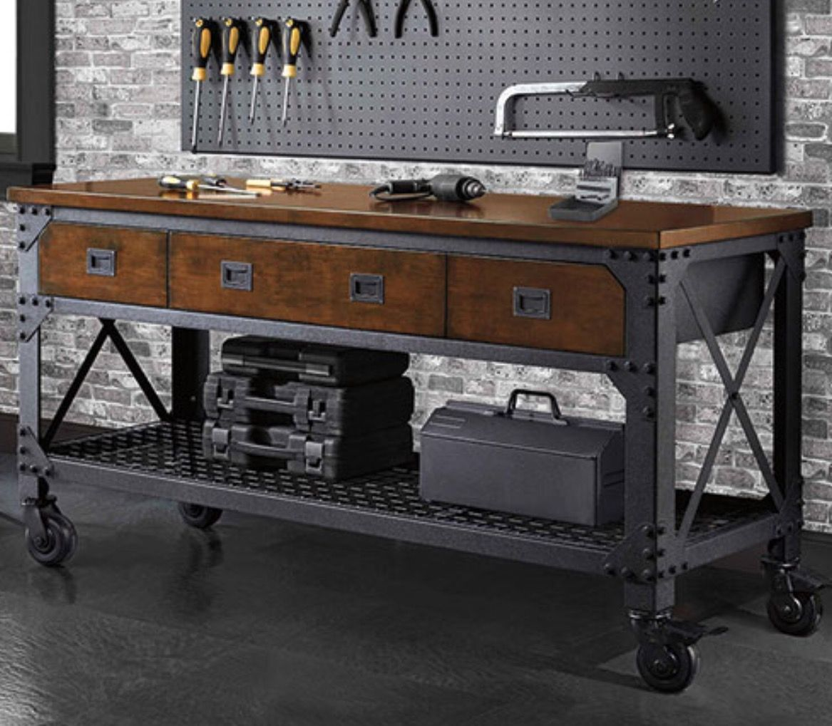 This Sturdy Industrial Style Inspired Rolling Workbench