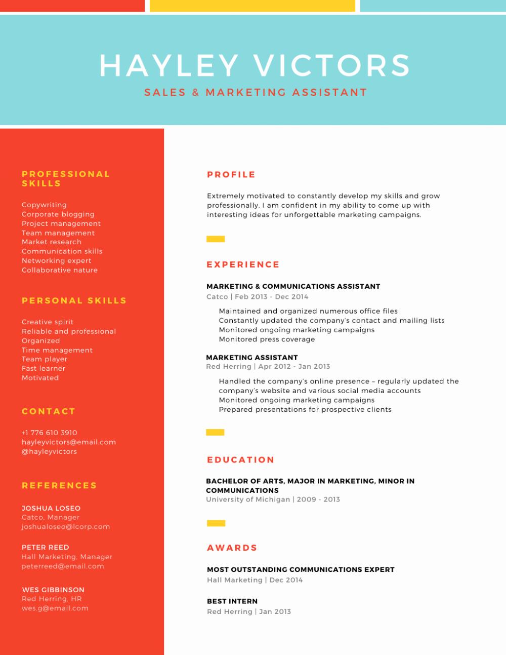 Colorful Grid TwoColumn Modern Resume Résumé by Learn