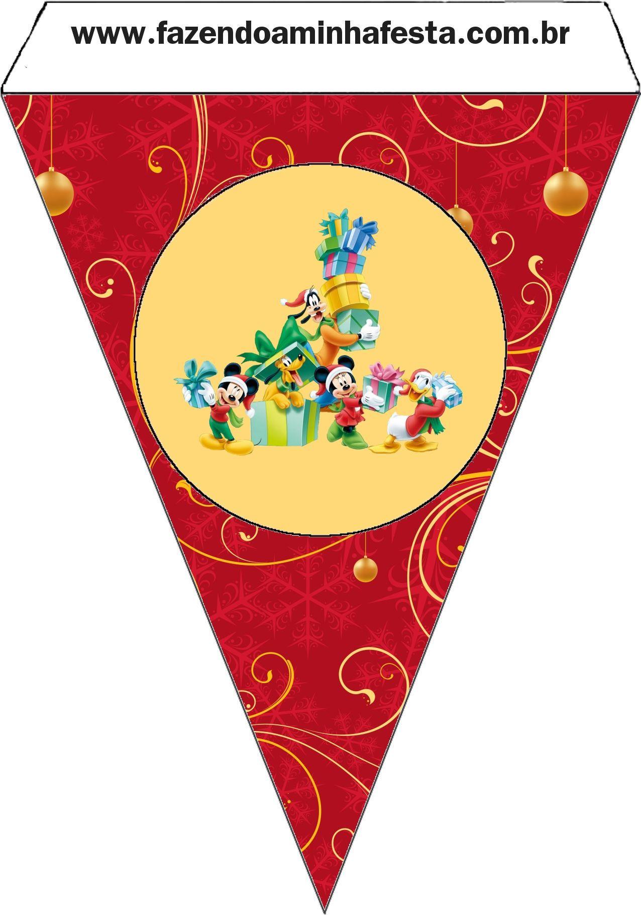 Bandeirinha Varalzinho Natal do Mickey e sua Turma: