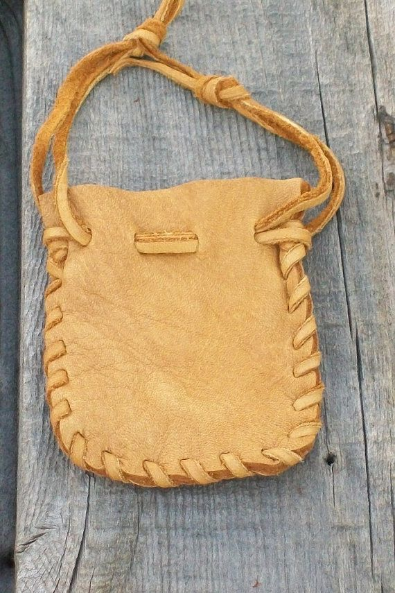 Small leather pouch Buckskin leather pouch by thunderrose