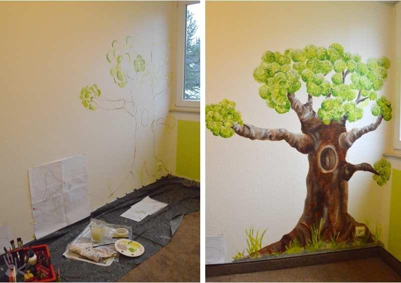 Wandmalerei in einem kinderzimmer die kreativfabrik for Wandmalerei kinderzimmer