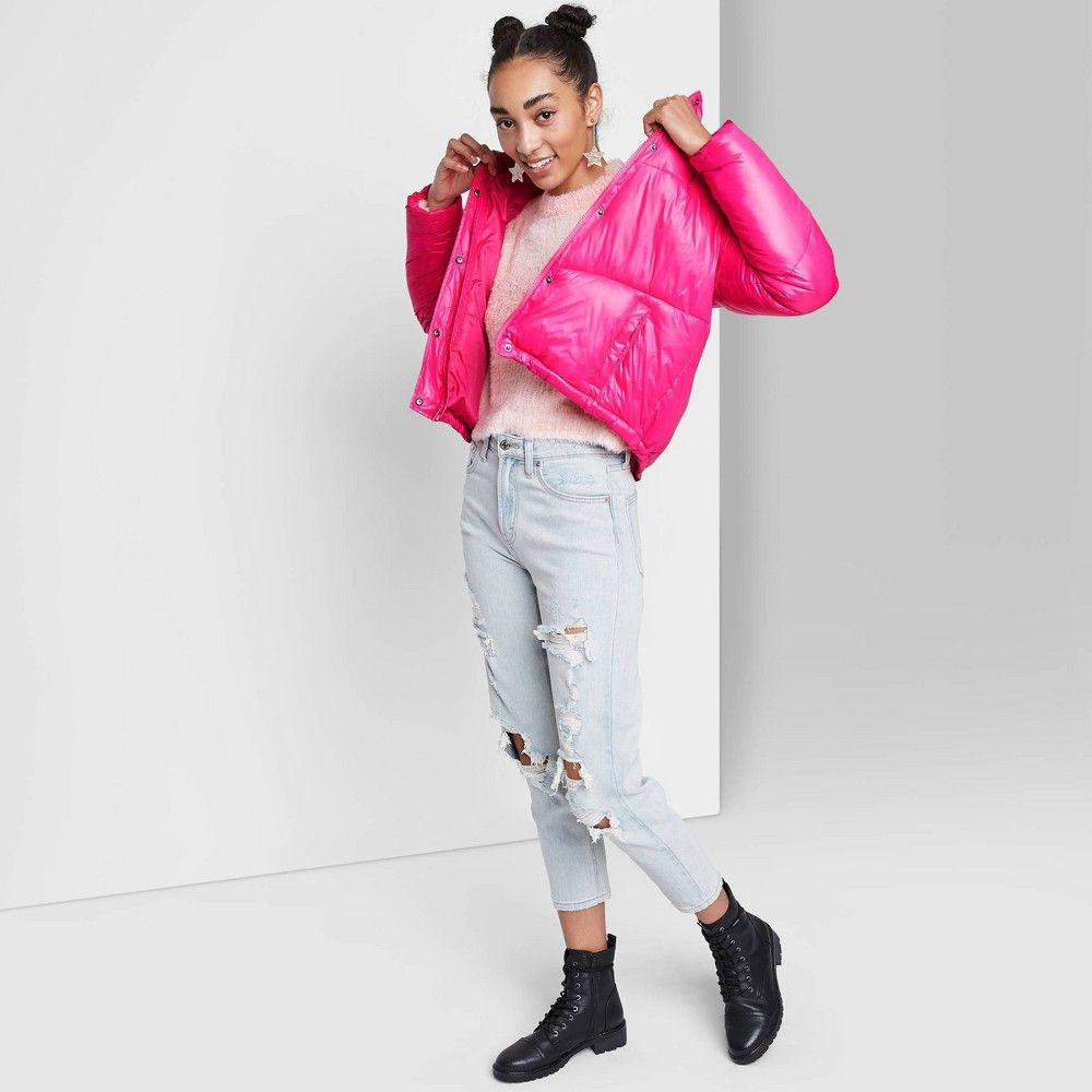 Women S Cropped Retro Puffer Jacket Wild Fable Pink M Puffer Jackets Women Crop Jackets [ 1000 x 1000 Pixel ]