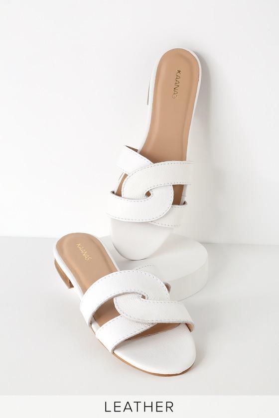 Santorini White Leather Slide Sandals