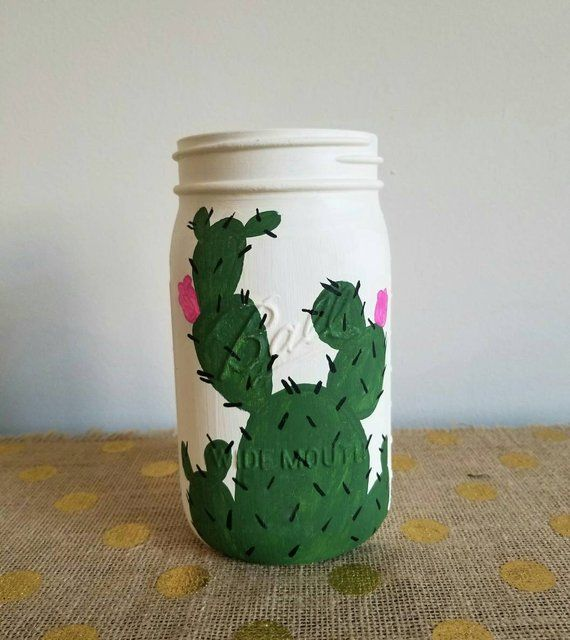 Painted Mason Jars, Rustic Mason Jars, Cactus Decor, Animal Skull Mason Jars, Plant Mason Jars, Boho Mason Jars, Mason Jar Decor, Vases #masonjardiy