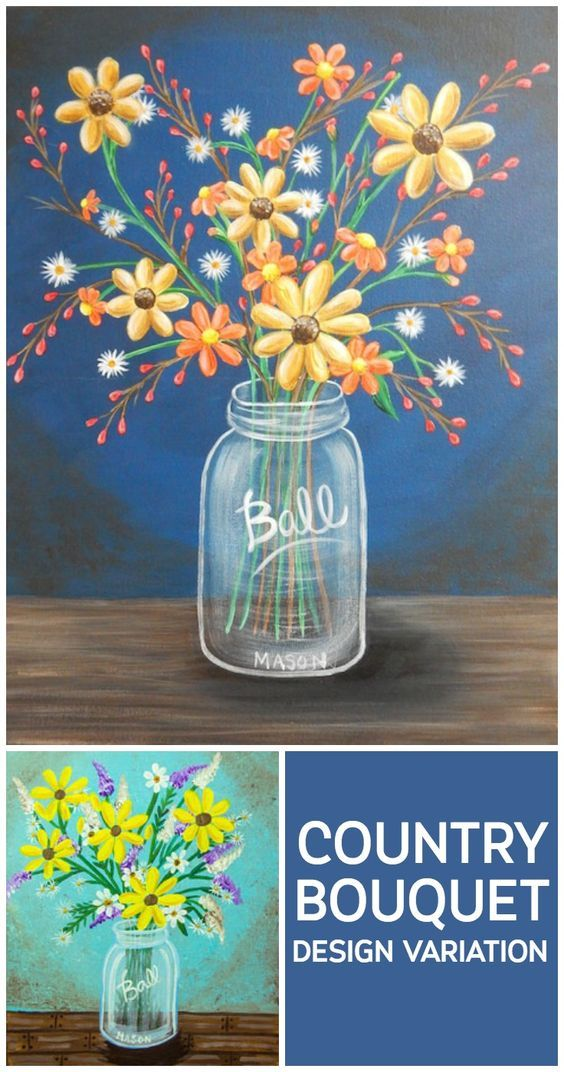 Country Bouquet Design Variation Flower Painting Fall Canvas Painting Fall Canvas
