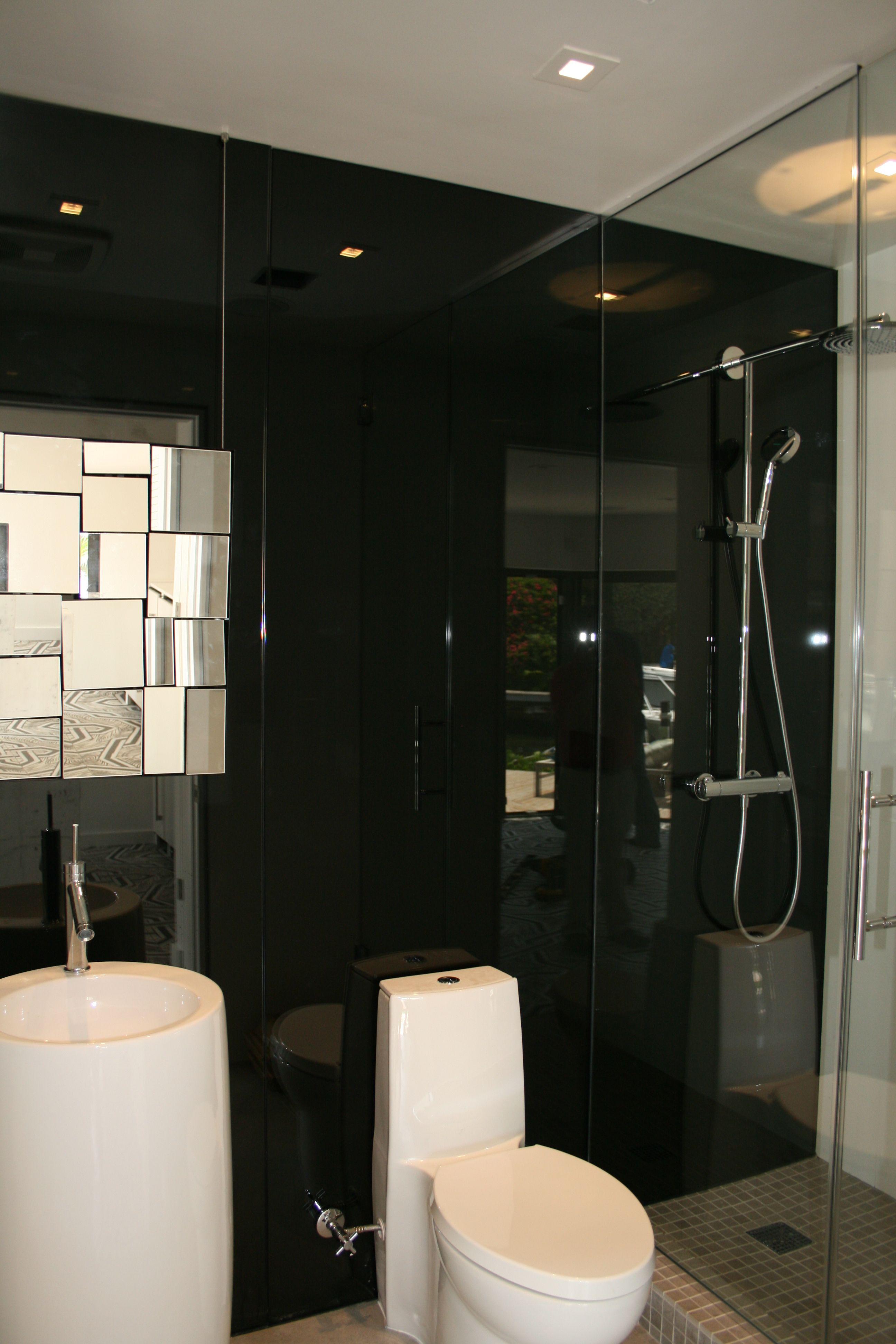bathroom black glass backsplash | Metallic backsplash ...