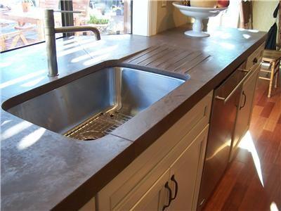 Rustic Drainboard Concrete Countertops Concrete Interiors