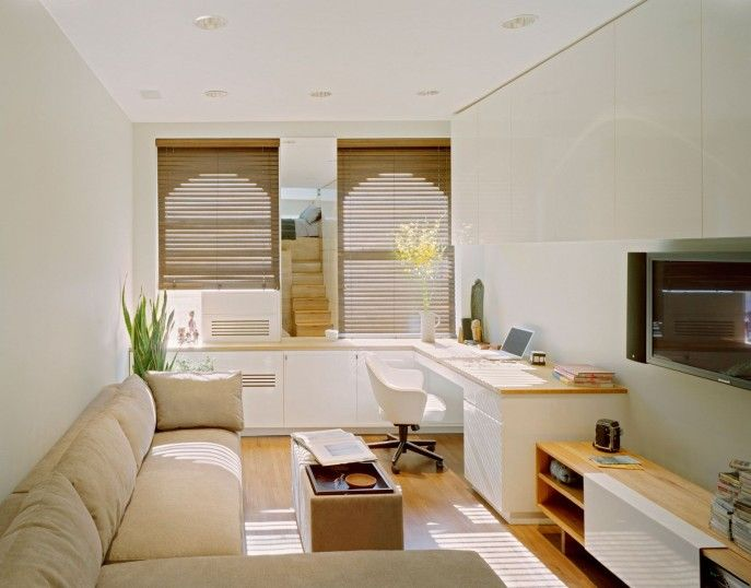 Interior Design Narrow Living Room Idea With Long Sofa And Space Saver Idea Living Room Ideas For Small Spaces Small Front Room Decorating Ideas Wood Laminate Flooring Living Room Design Sectional Sofa Wooden Shelves In Small Space Small Front Room Decorating Ideas
