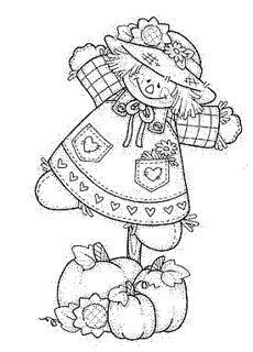 Primitive Colour Pages Scarecrow Crafts On Pinterest