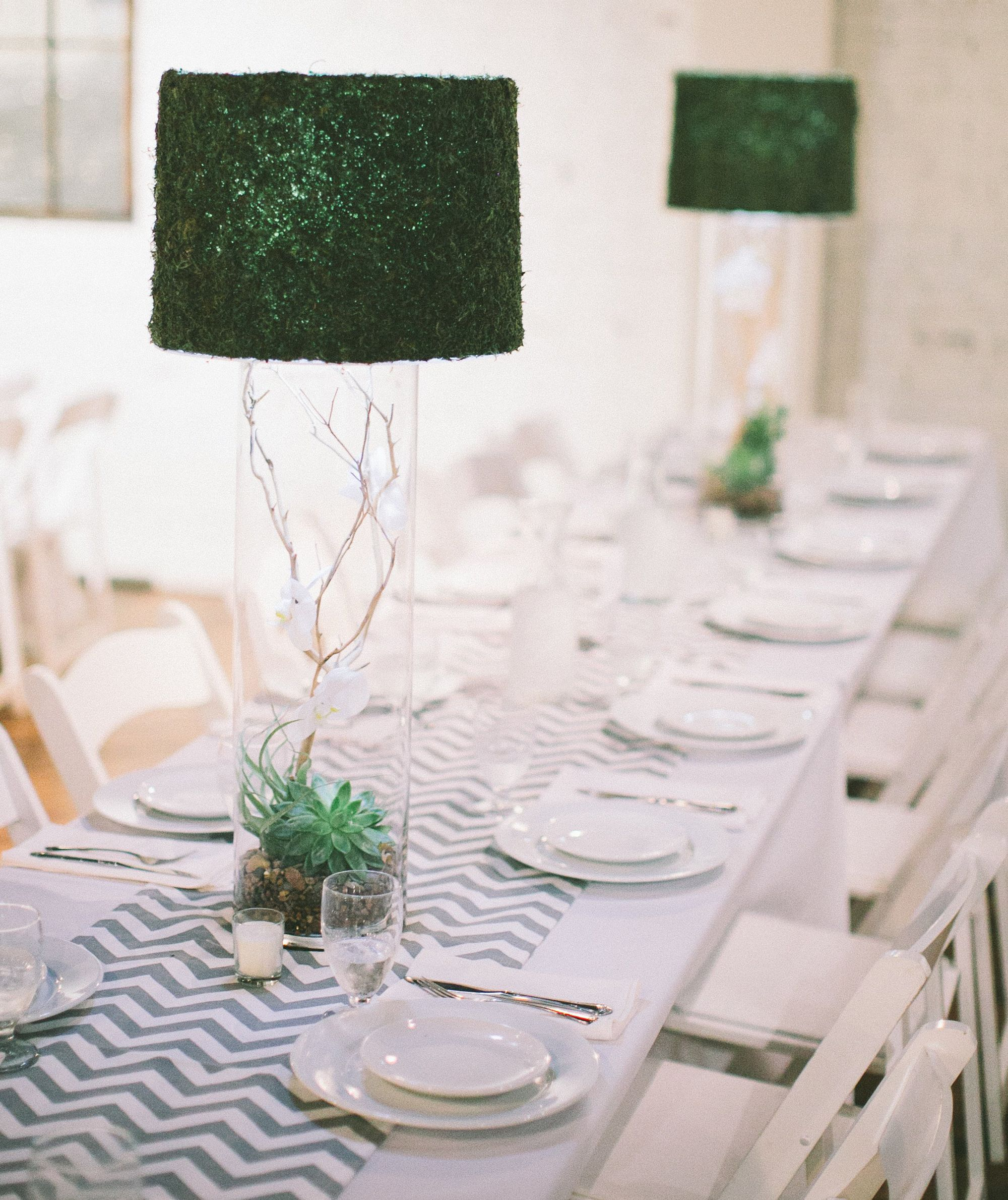 Succulent centerpieces with moss lamp topper | Lamp centerpiece ...
