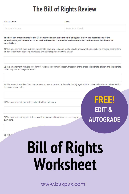 Free Bill Of Rights Social Studies Worksheet In 2020 Social Studies Worksheets Geometry Worksheets Figurative Language
