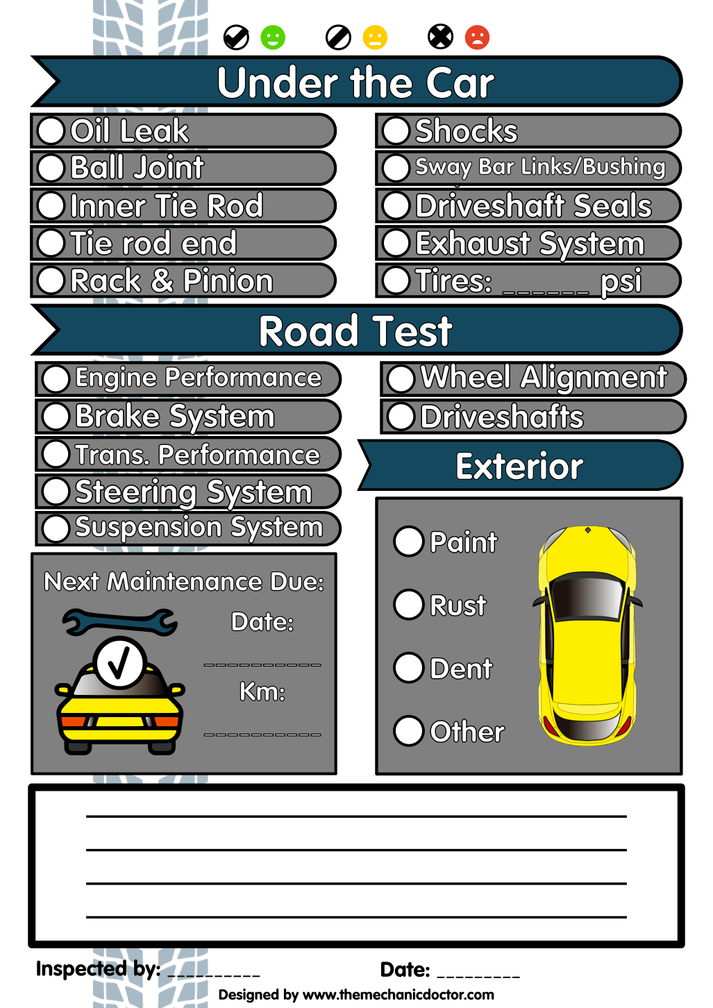 Image Result For Printable Vehicle Inspection Sheets With
