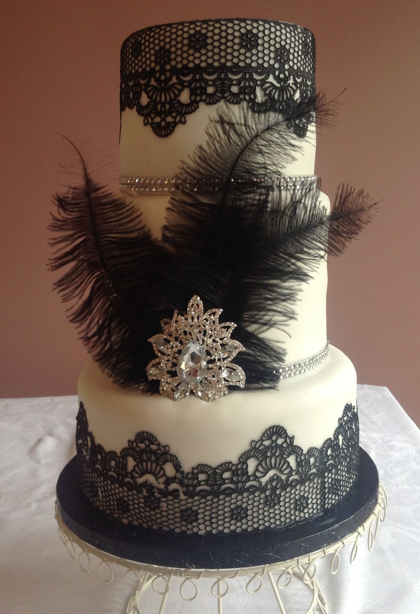 Black lace Cake by Exquisite Cakes