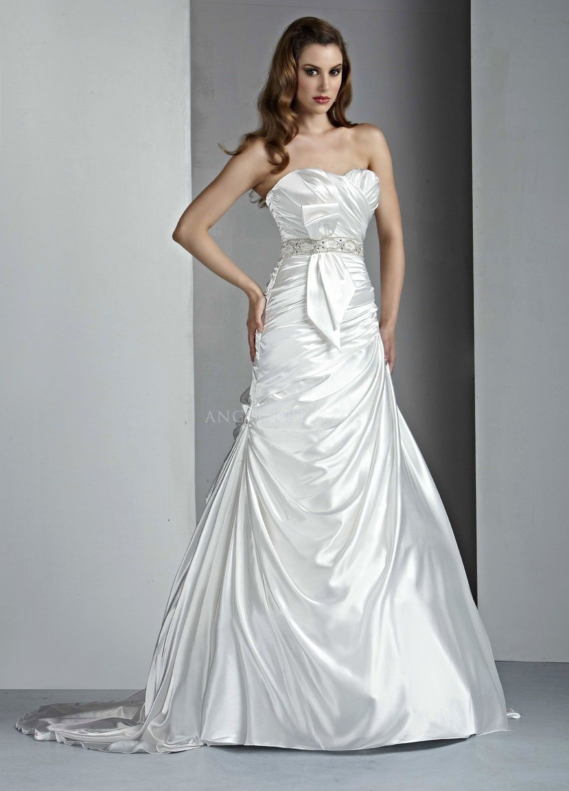 Timeless Charmeuse Strapless A line Court Train Bridal