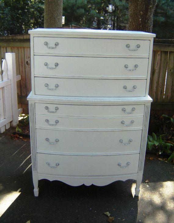 Best Tall White Vintage Dresser Shabby Chic By 640 x 480