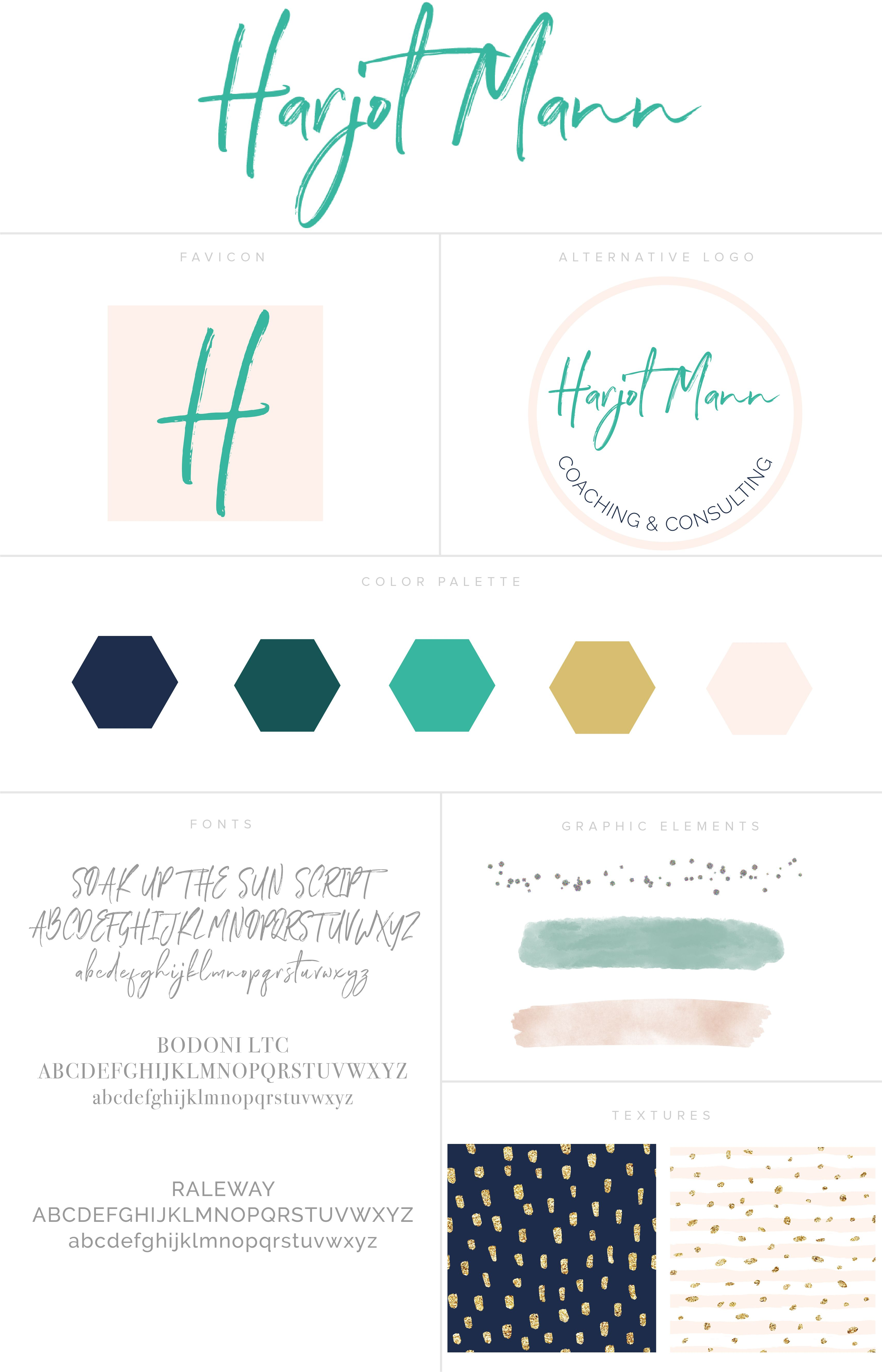 Feminine branding style board using pink, gold, blue and