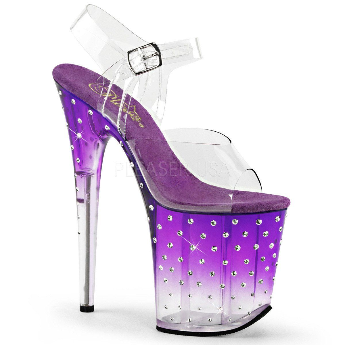f0efc70f4b4 High heel platform sandals with colorful ombre platform and multi-sized Rhinestone  studs. These sandals have a clear upper with adjustable ankle strap and ...