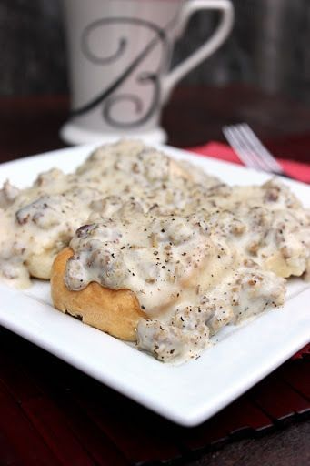 Sausage Gravy And Biscuits With Ground Sausage, Butter, Whole Milk, Flour, Salt, Pepper, Biscuits