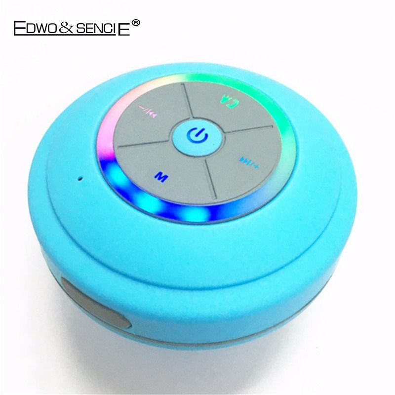 EDWO Q9 Portable Wireless Bluetooth Speaker Waterproof Shower Sucker  Bathroom Led Light Stereo Music For IPhone