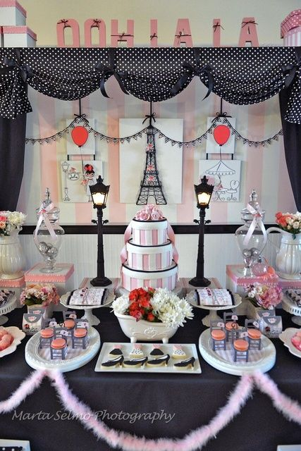 paris birthday party ideas idee creation d corations de table et table. Black Bedroom Furniture Sets. Home Design Ideas
