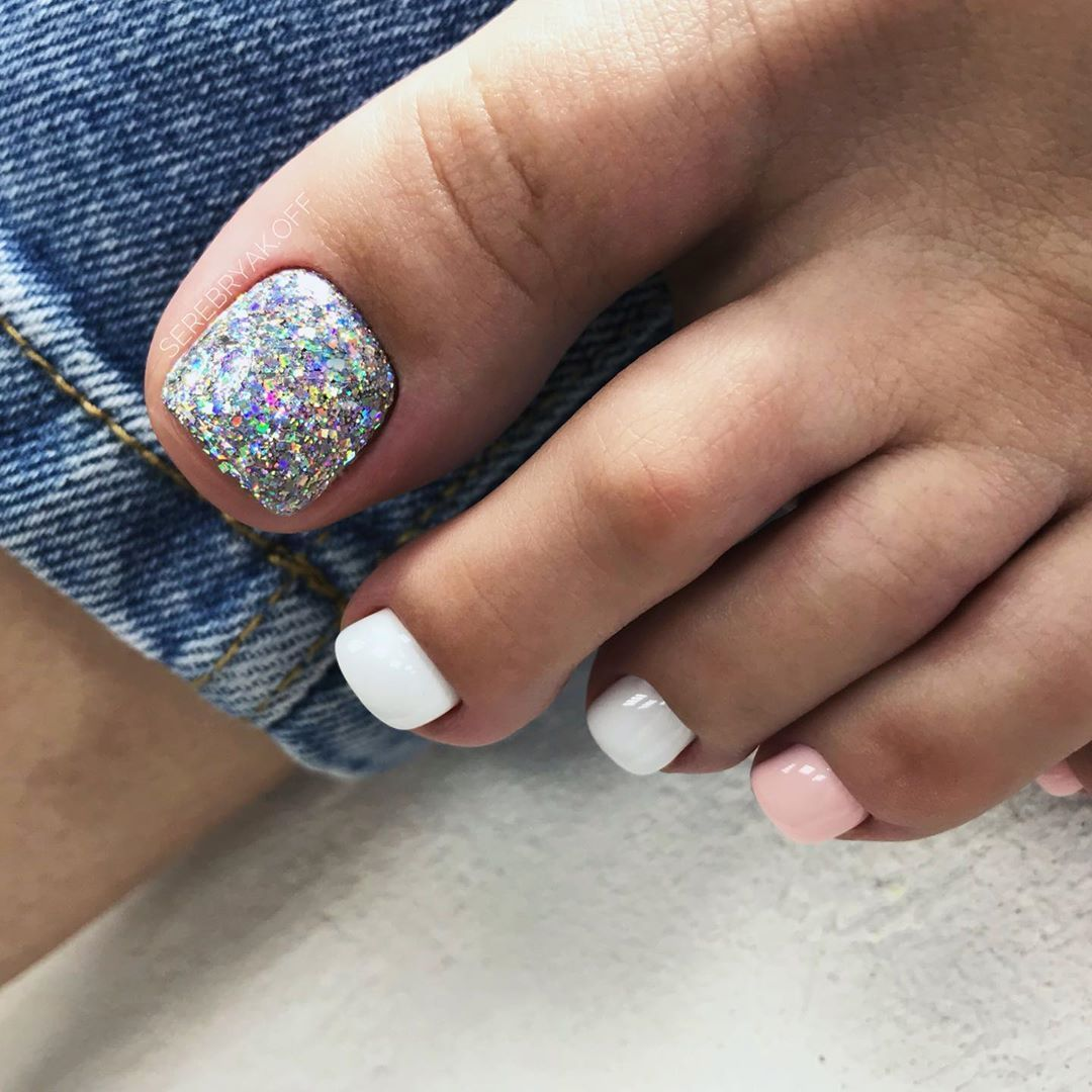 Toe Nail Colors Amazing Designs White Pink Glitter Accent Finger