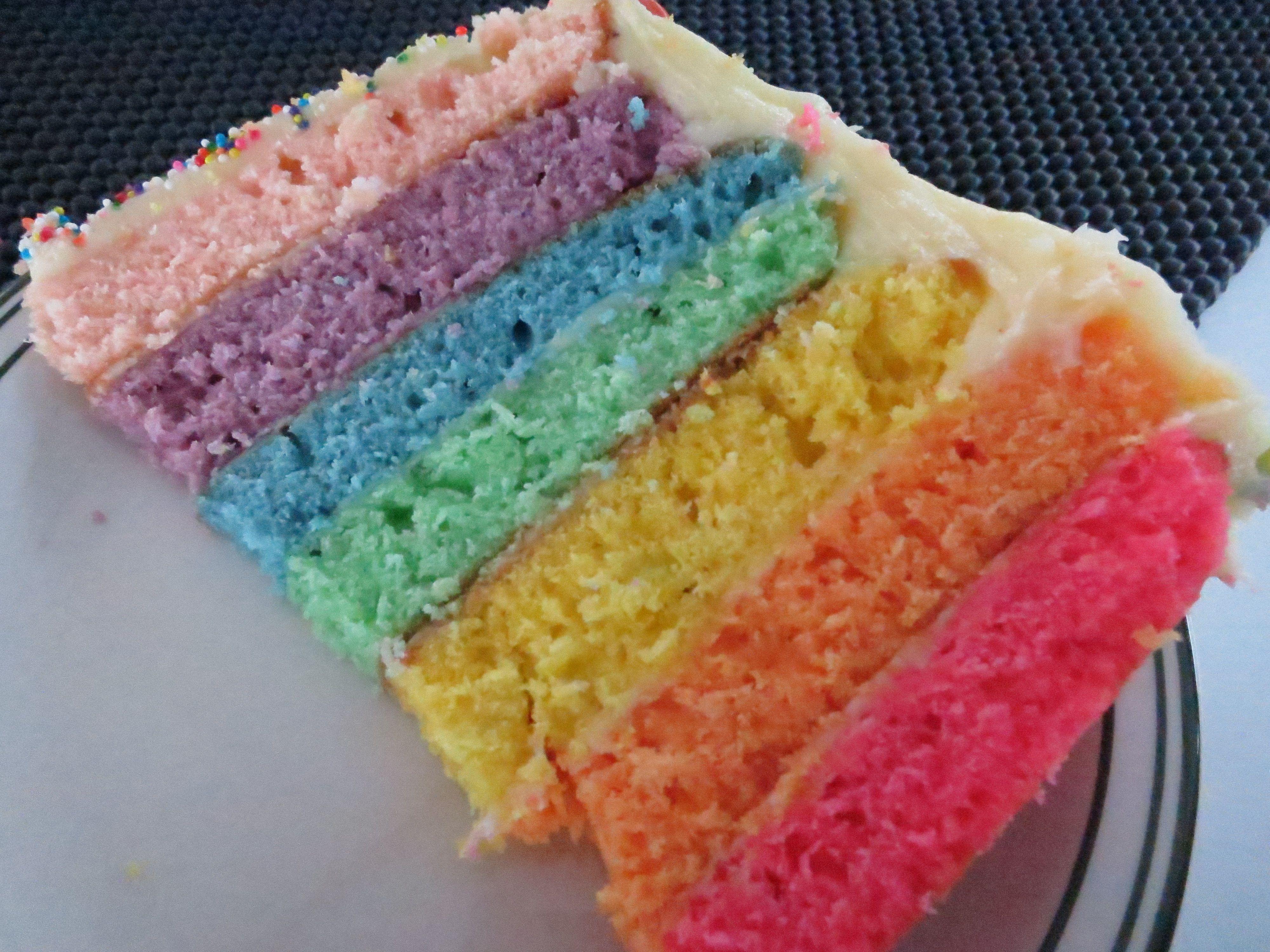 Rainbow Birthday Cake with Cream Cheese Icing Sweet Treats