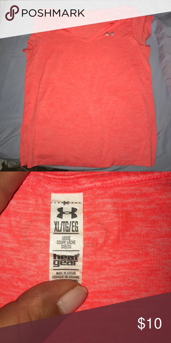 Work out shirt Bright orange! Perfect for working out at night. XL, but fits tight. Very good condition Under Armour Tops Tees - Short Sleeve