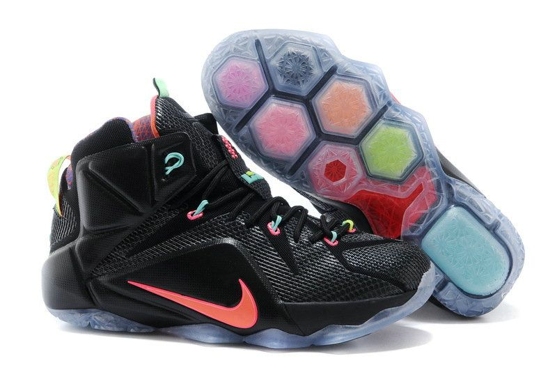 169bd3b5f49d4 Lebron XII 12 Data Black Bright Mango Hyper Punch Volt 684593 068 ...
