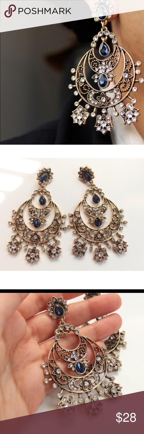 Antique gold chandelier earrings Boutique | Gold chandelier ...