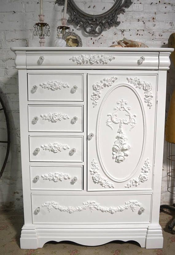 Photo of Painted Cottage Chic Shabby Romantic French Dresser / Armoire AM247
