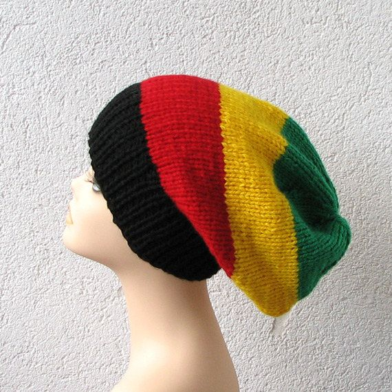 simple slouchy beanie hat in color rasta, slouchy hat for men or ...