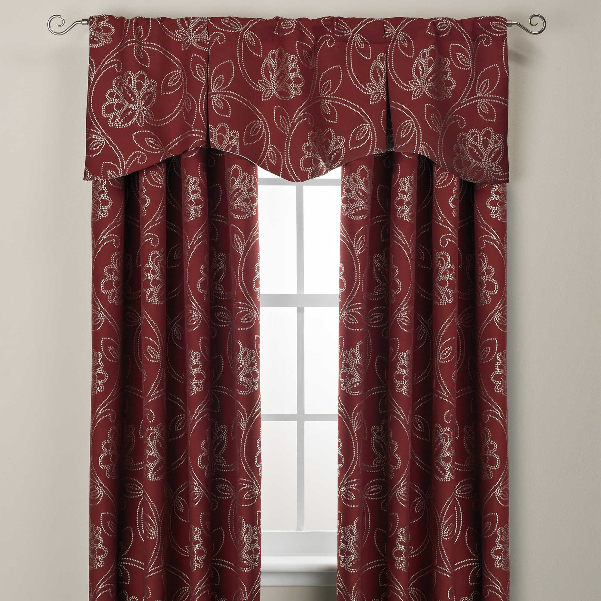 Jacobean Rod Pocket Back Tab Window Curtain Panels And