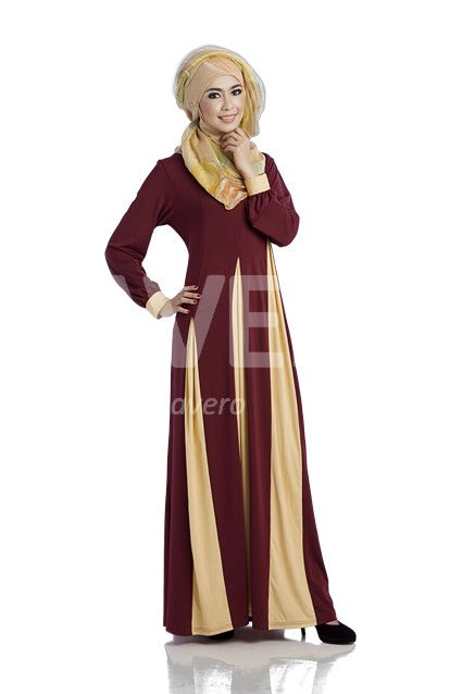 Awila Coklat Susu Kombo Citera Over Plooi Dress Kaos Spandex