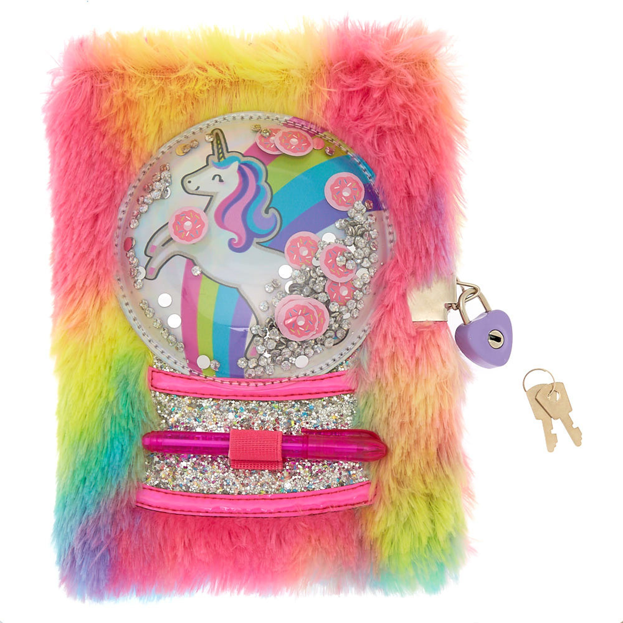 Miss glitter the unicorn snowglobe lock plush diary