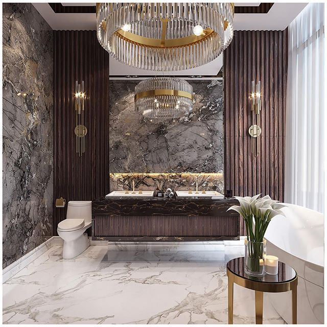 """Photo of Luxxu Modern Design&Living on Instagram: """"Liberty suspension and Gala torches to light up this luxury bathroom, created by @mika_it Gold and crystal details fit perfectly with the…"""""""