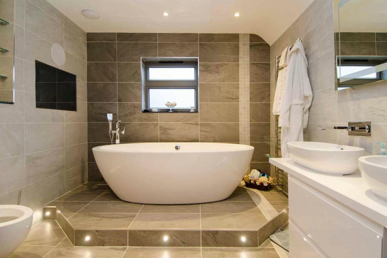 Choosing New Bathroom Design Ideas 2016. large dark brown bathroom tile is  always looks successful