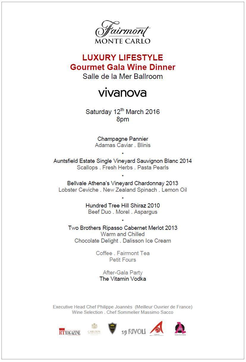 2016 Luxury Lifestyle Gala Dinner Menu . Luxury Lifestyle Charity ...