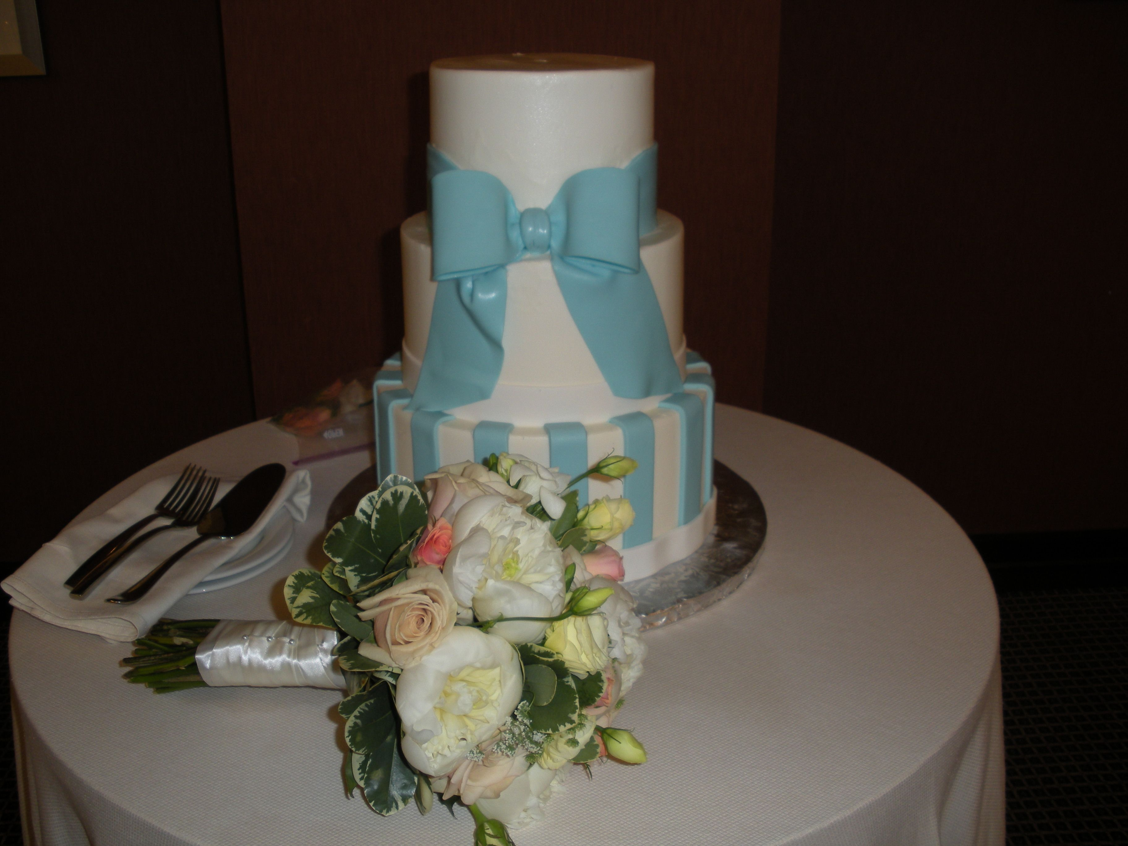 Wedding 8-7-2010 The Liberty Hotel (Old Charles St. Jail, Boston) Wedding Cake and Bridal Bouquet.
