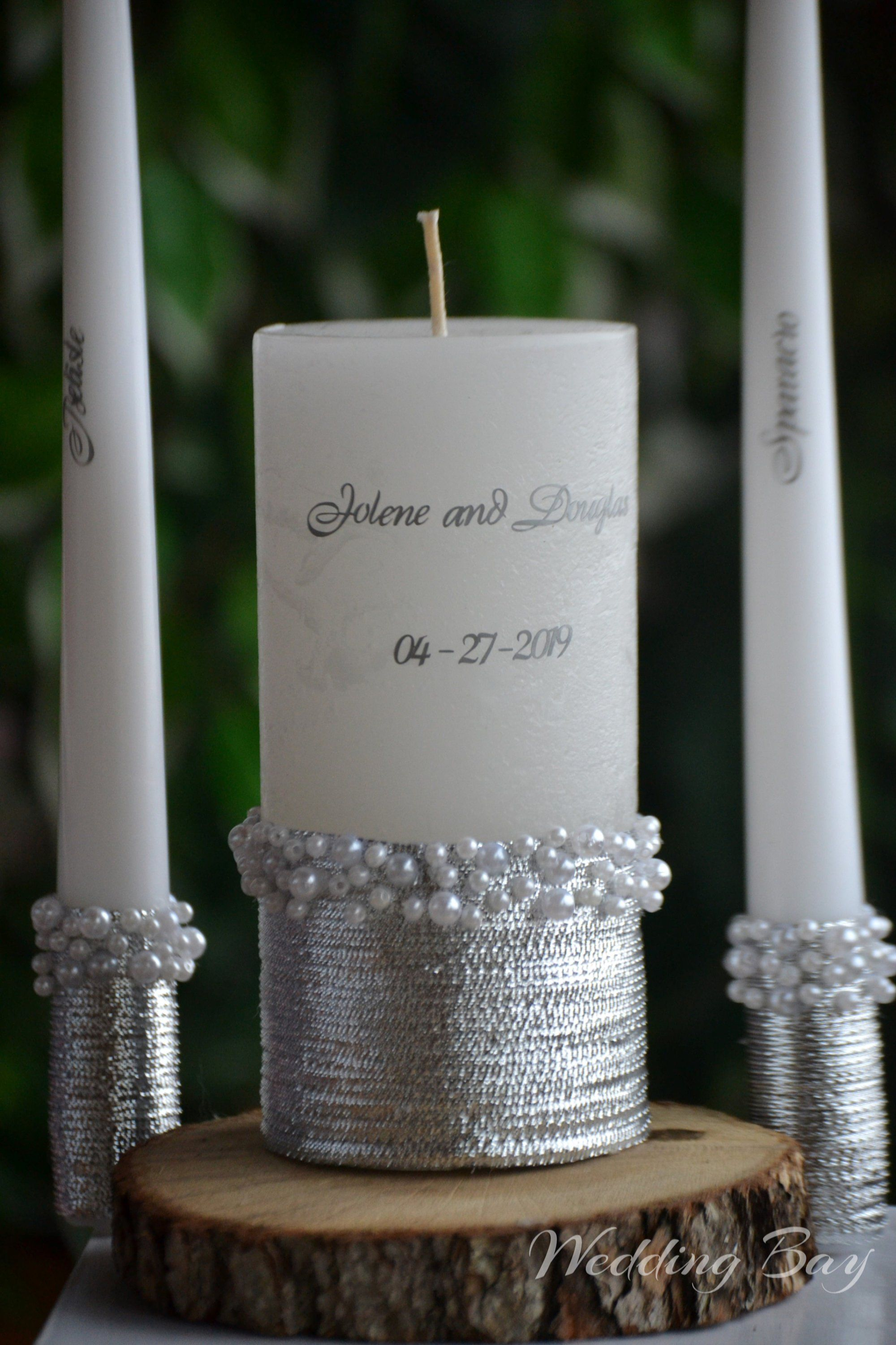 Unity Candle Copper Unity Candle Set Pearls Decoration Candle Etsy Personalized Candles Custom Wedding Candles Personalised Wedding Candles