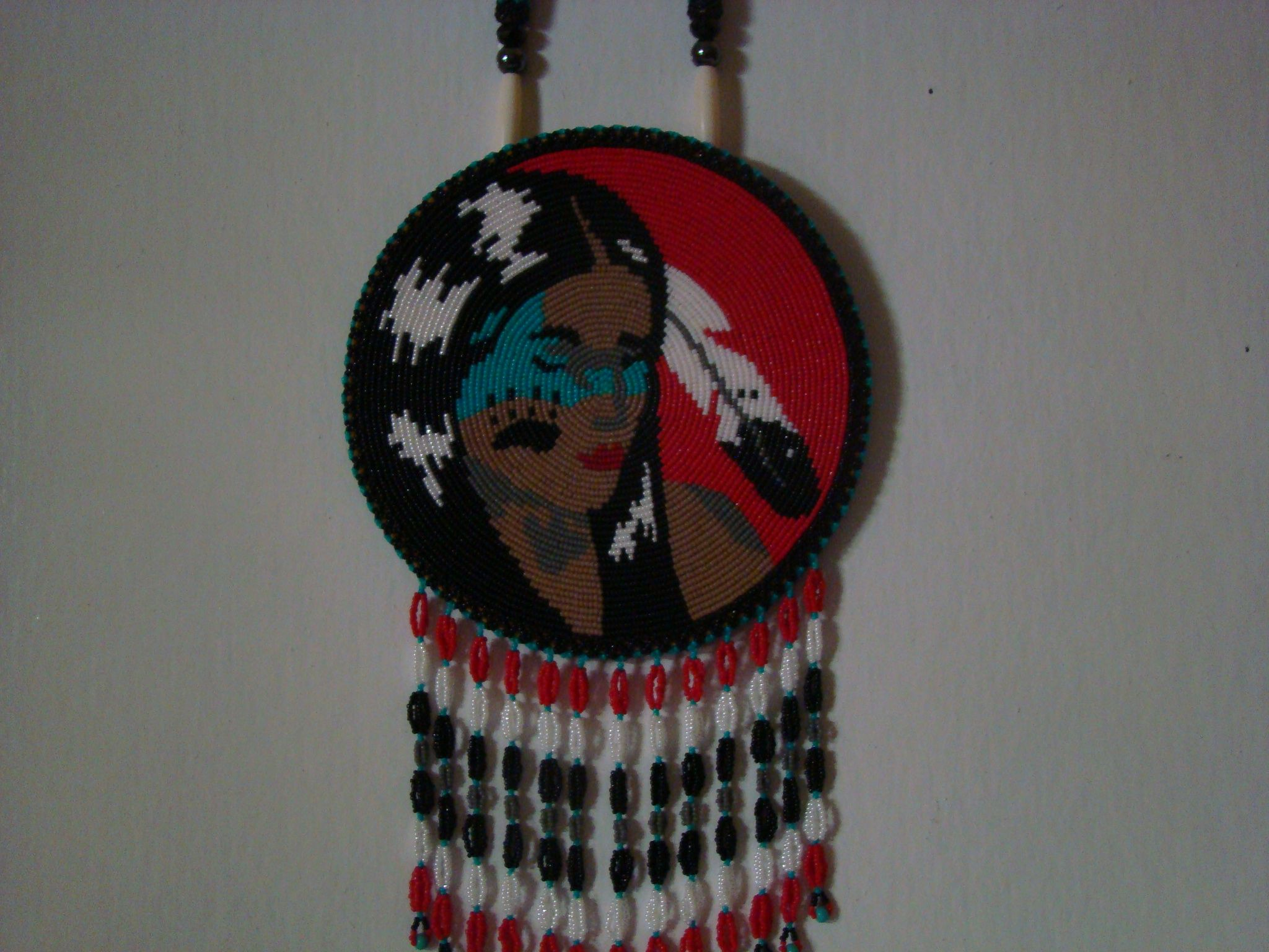 Native american girl beaded rosette beadwork from myself and a