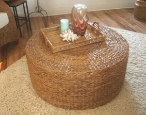 This beautiful 36 round seagrass coffee table is handwoven in a