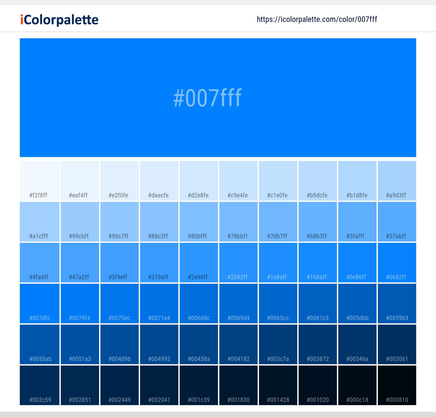 color space information 007fff similar pantone name schemes light darkshades in 2020 solid backgrounds blue guide book 659