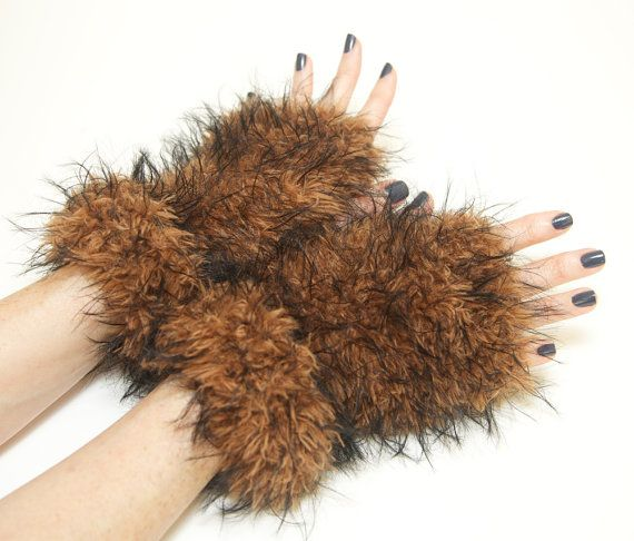 Fur wrist warmers fun fur fingerless gloves fur arm by TooManyPies