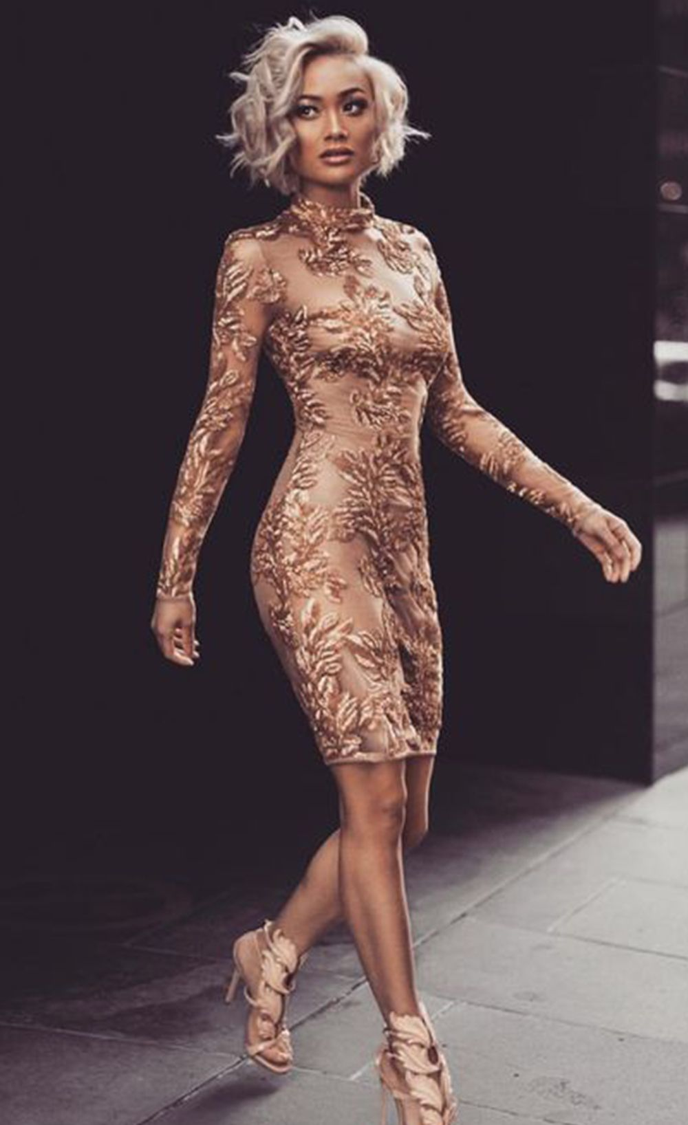 long sleeves sequin dress o neck above knee wedding dress