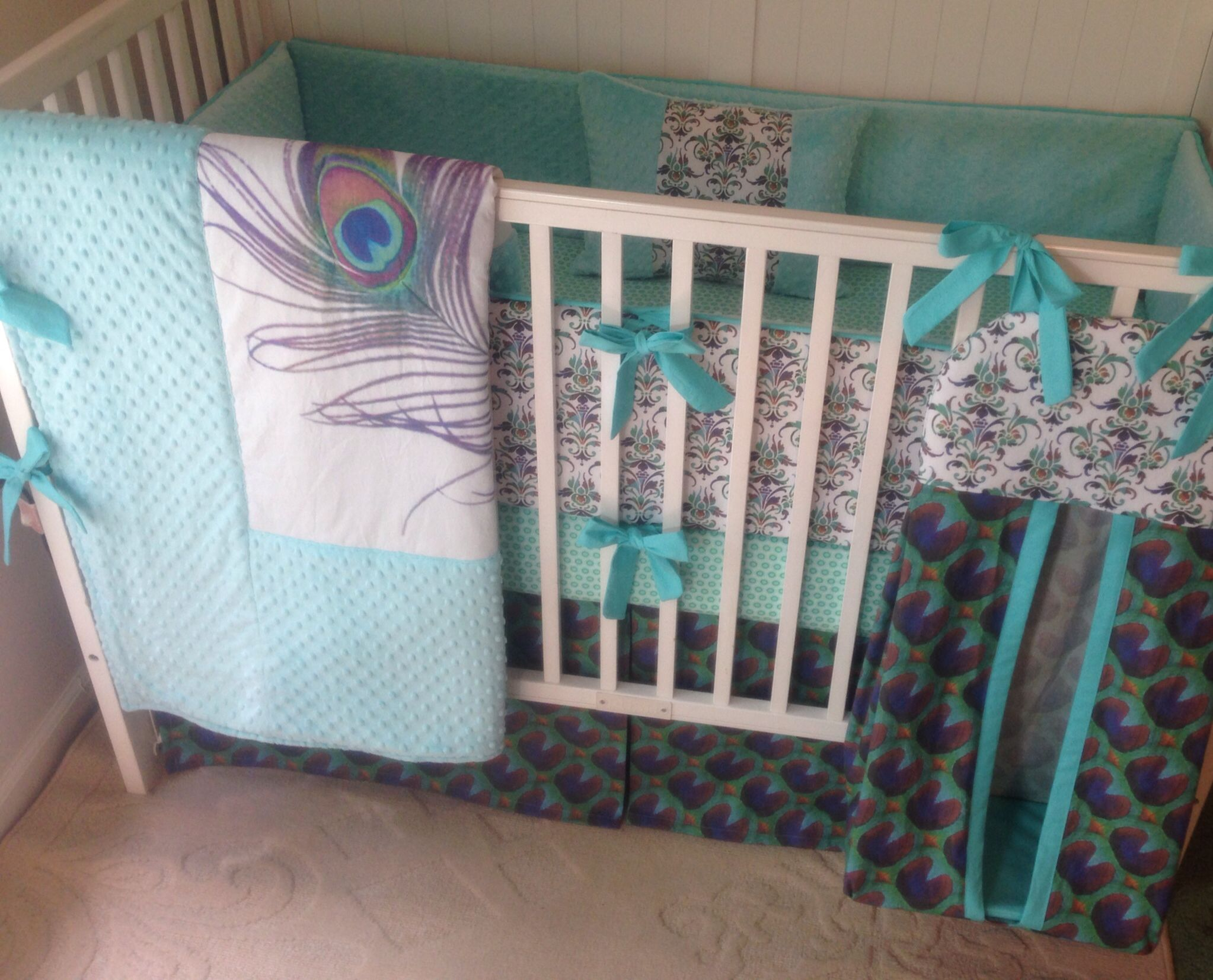 Crib bedding set gray white navy blue with by butterbeansboutique - Pretty As A Peacock Crib Bedding Set I Just Adore Peacocks And Their Vibrant Colors