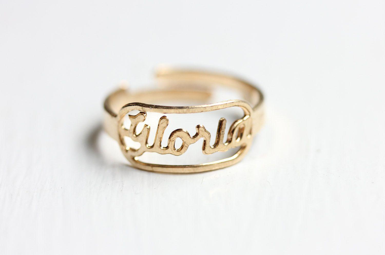 Vintage Name Ring Gloria Vintage Names Name Rings Rings