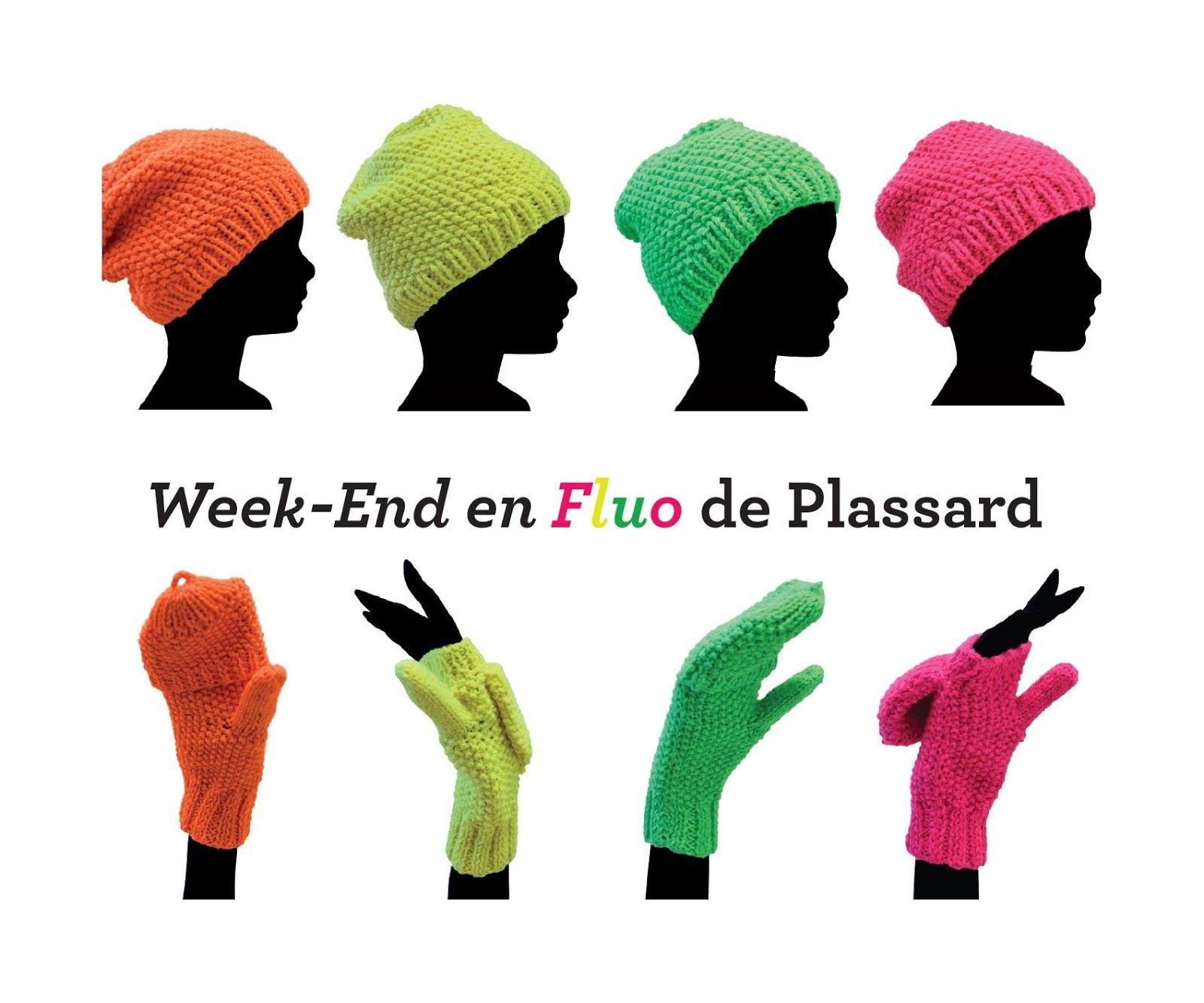 modele-gratuit-plassard-bonnet-moufles-fluo | tricot modèles | Pinterest