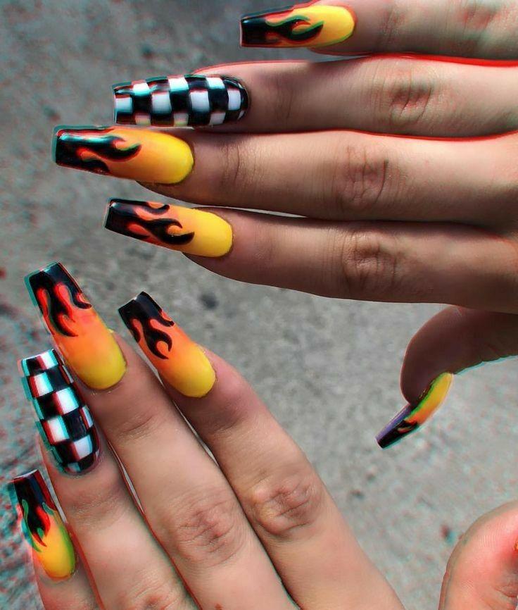 Pin By Emily Martin On Unhas Nails Checkered Nails Coffin Nails Designs Nails Tumblr