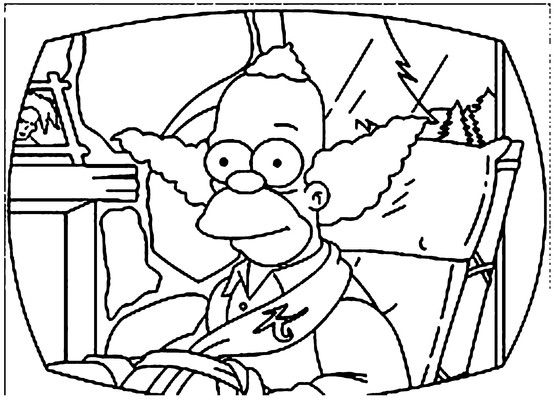 Krusty The Clown Coloring Page Cartoon Coloring Pages Simpsons