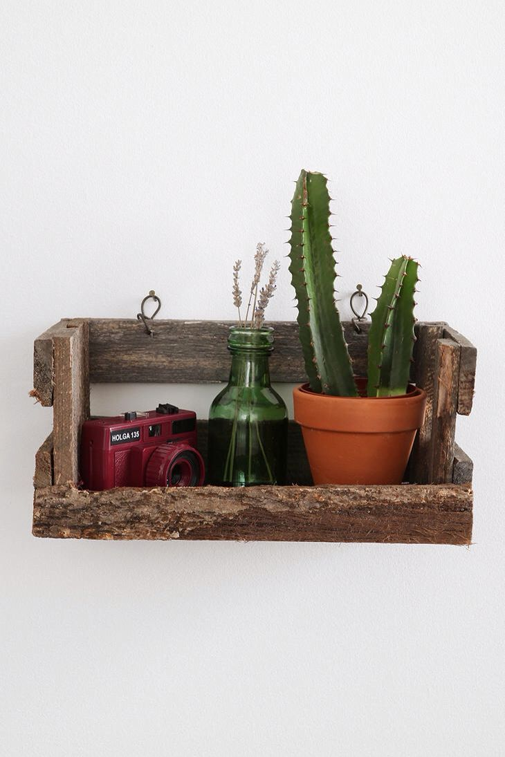 Reclaimed Wood Crate Wall Shelf - Scottie could make this! Hang near the  vanity to house the q-tips, cotton balls, band-aids, etc.